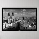Prague Cityscape (B&W) Poster