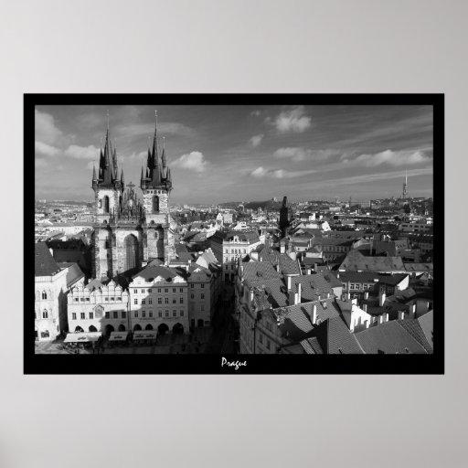 Prague Cityscape (B&W) Posters