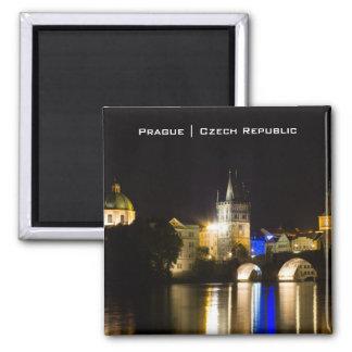 Prague Cityscape Square Magnet