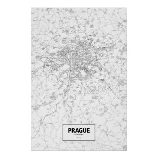 Prague, Czech Republic (black on white) Poster