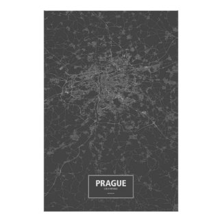 Prague, Czech Republic (white on black) Poster