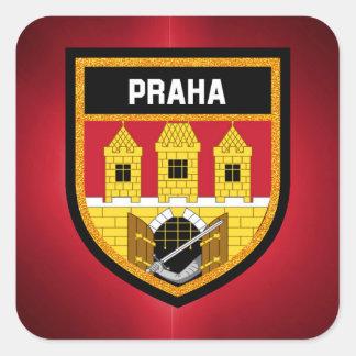 Prague  Flag Square Sticker