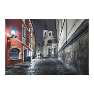 Prague Karlova Street at Night Canvas Print