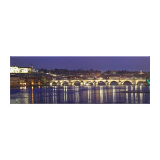 Prague night view souvenir photo canvas print