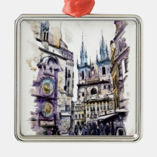 PRAGUE - Old town square1a.png Silver-Colored Square Decoration