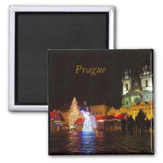 Prague on Christmas Night Square Square Magnet