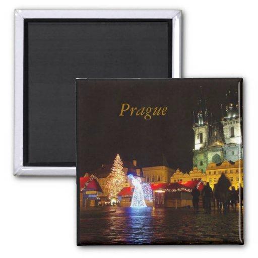 Prague on Christmas Night Square Magnet