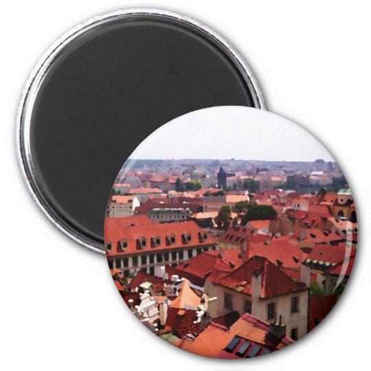 Prague Red Roofs 6 Cm Round Magnet
