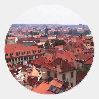 Prague Red Roofs Classic Round Sticker