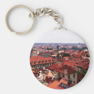 Prague Red Roofs Key Ring