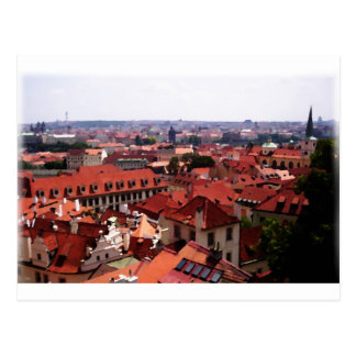Prague Red Roofs Postcard