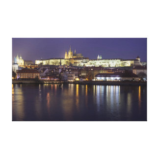 Prague River and castle view souvenir photo Canvas Print