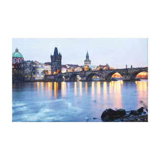 Prague River twilight view souvenir photo Canvas Print
