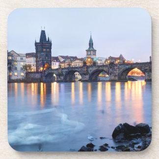 Prague River twilight view souvenir photo Coaster