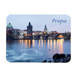 Prague River twilight view souvenir photo Magnet