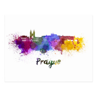 Prague skyline in watercolor postcard