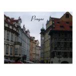 prague streets postcard