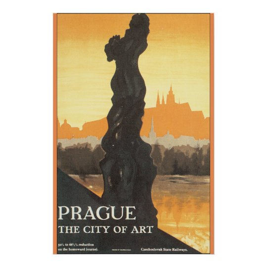 Prague the City of Art Vintage Travel Poster