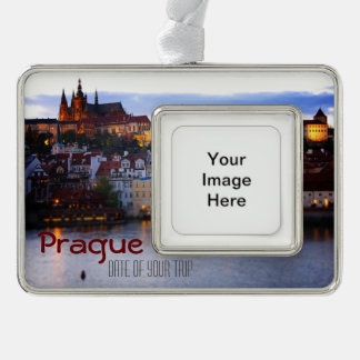 Prague Travel Christmas Ornament - Customizible Silver Plated Framed Ornament