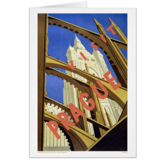 """Prague"" Vintage Travel Poster Greeting Card"