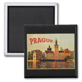 Prague Vintage Travel Square Magnet