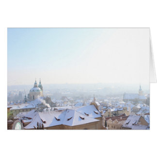 Prague Winter Rooftops Card