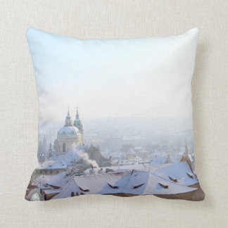Prague Winter Rooftops Cushion