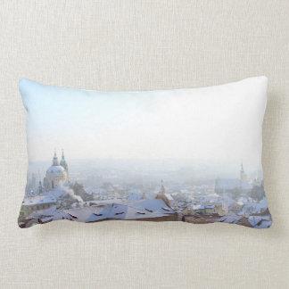 Prague Winter Rooftops Lumbar Cushion