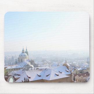 Prague Winter Rooftops Mouse Mat