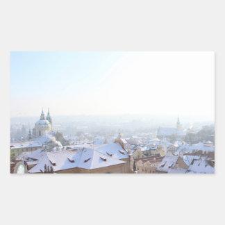 Prague Winter Rooftops Rectangular Sticker
