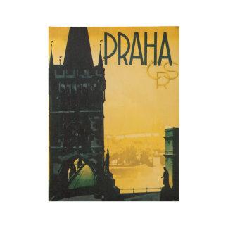 Praha Prague Vintage Travel Poster Wood Poster