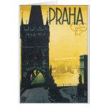 Praha Vintage Travel Poster Greeting Card