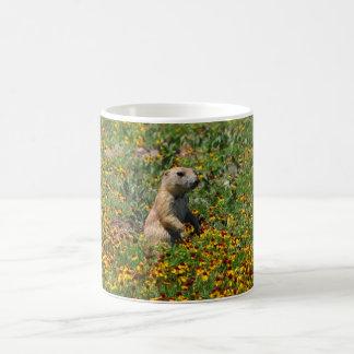 Praire Dog in Flowers Basic White Mug