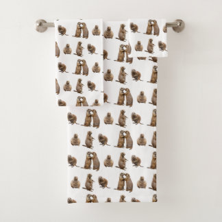Prairie Dog Frenzy Bathroom Towels (choose colour)