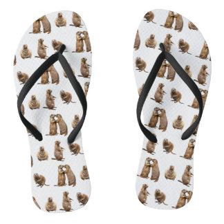 Prairie Dog Frenzy Flip Flops (choose colour)