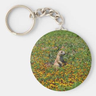 Prairie Dog in Flowers Basic Round Button Key Ring