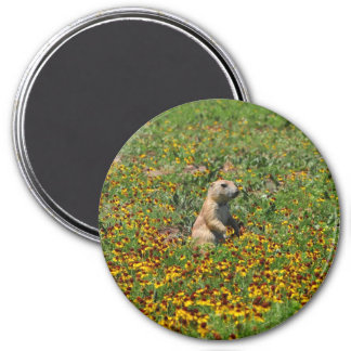 Prairie Dog in Flowers Refrigerator Magnet