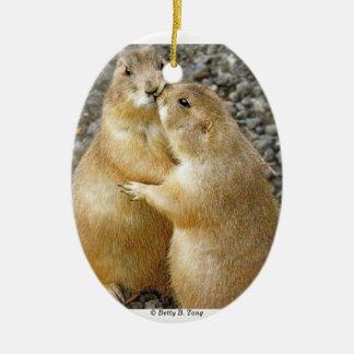 Prairie Dog Kisses Christmas Ornament