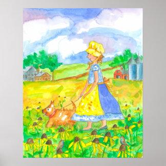 Prairie Girl Walking Dog Farm House Poster
