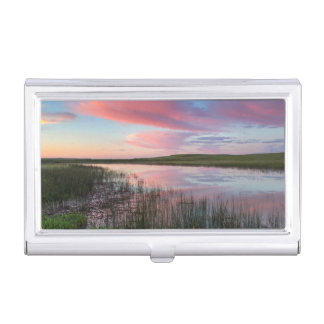 Prairie Pond Reflects Brilliant Sunrise Clouds Business Card Holder
