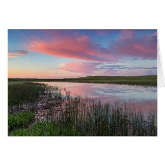 Prairie Pond Reflects Brilliant Sunrise Clouds Card