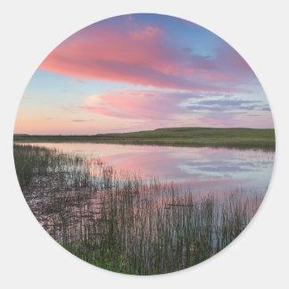 Prairie Pond Reflects Brilliant Sunrise Clouds Classic Round Sticker