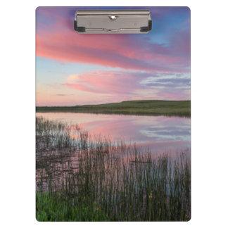 Prairie Pond Reflects Brilliant Sunrise Clouds Clipboards