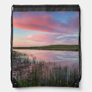 Prairie Pond Reflects Brilliant Sunrise Clouds Drawstring Bag