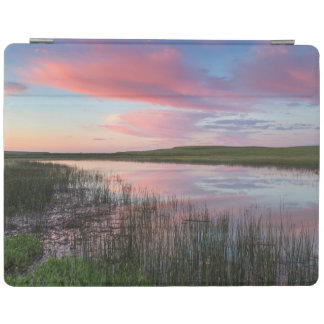 Prairie Pond Reflects Brilliant Sunrise Clouds iPad Cover