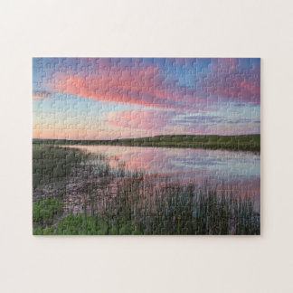 Prairie Pond Reflects Brilliant Sunrise Clouds Jigsaw Puzzle