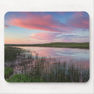 Prairie Pond Reflects Brilliant Sunrise Clouds Mouse Mat
