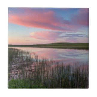Prairie Pond Reflects Brilliant Sunrise Clouds Tile