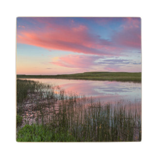 Prairie Pond Reflects Brilliant Sunrise Clouds Wood Coaster