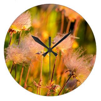 Prairie Smoke Wildflowers In Aspen Grove Large Clock
